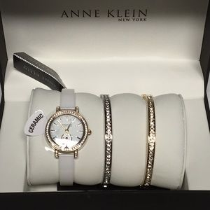 Anne Klein Ceramic Crystal Watch & Bracelet Set